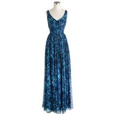 J.Crew Heidi Long Dress ($520) ❤ liked on Polyvore featuring dresses, blue dress, long bridesmaid dresses, bridesmaid dresses, holiday cocktail dresses and long party dresses