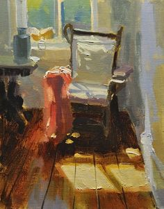 Study of a Chair by Charles Iarrobino,  Oil on linen~ 10 inches x 8 inches