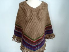 Crochet Poncho shawl in Brown by Namaoy on Etsy, $68.00