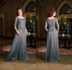 Vestido Mae Da Noiva Plus Size Scoop Neck 3/4 Sleeves Chiffon Lace Gray 2015 Mother Of The Bride Dresses
