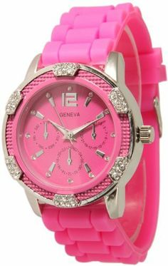Women's Hot Pink Chronograph Silicone with Crystal Rhinestones Bezel Geneva. $9.95. Approximately 1.5 inches face. Easy Read Numbers. Japan Quartz Movement. Silicone Style Soft, Bendable, Flexible Band. Very fashionable and stylish. Makes a great gift!