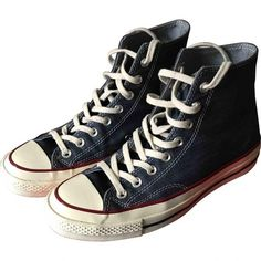 Pre-owned Converse High Trainers ($60) ❤ liked on Polyvore featuring men's fashion, men's shoes, men's sneakers, blue, men shoes trainers, converse mens shoes, converse mens sneakers, mens sneakers, mens navy blue sneakers and mens shoes