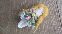 Brooch doll in a matchbox mini doll cloth doll by GabYhandmade