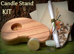 KIT :- Wooden Candle Stand Holder 'LEAF' design Make your own (beeswax tealight included) - Makes a wonderfully unique gift idea. DIY Craft