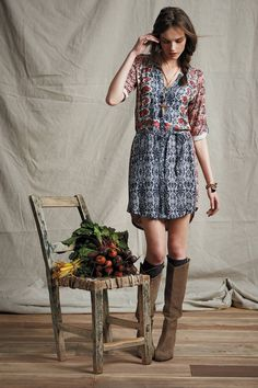 Perenne Shirtdress - anthropologie.com. Love the dress, boots, and necklace