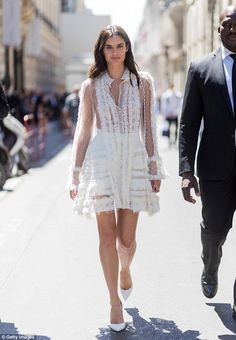 Street style: Sara Sampaio seen walking between fashion shows in Paris on Wednesday...