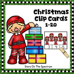 Christmas Math Clip Cards  for counting and matching sets of 1-20 objects with a fun  theme.  Use for centers, partner work or individual work.