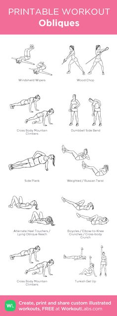 Obliques: my visual workout created at WorkoutLabs.com • Click through to customize and download as a FREE PDF! #customworkout