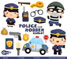 This listing is for 15 cute police & robber design elements. This digital clipart set is perfect for use in greeting cards, scrapbooking, party invitations, decorations, and more!!  - You will get 15 Digital Clip Art images in PNG format in 12 inches size - High Resolution of 300dpi - Watermark will not be on digital images purchased  *If you need any other format such as ai or eps feel free to send a message and we will be happy to help   TERMS OF USE-  • Commercial Use:  There are two o...