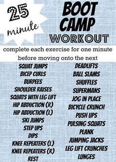 You can find Boot camp and more on our Minute Boot Camp Workout! Bootcamp Training, Circuit Training, Training Equipment, Marathon Training, Workout Circuit, Shred Workout, Training Workouts, Workout Challenge, Killer Workouts