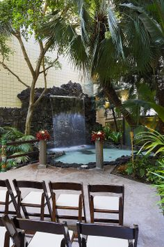 The East Atrium Waterfall Ceremony Venue at Crowne Plaza San Diego Hanalei. Very intimate.