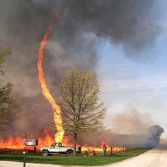 A firenado is spawned on a field in Chillicothe, Mo., the week of April 7, 2014. (Photo/Janae Copelin)