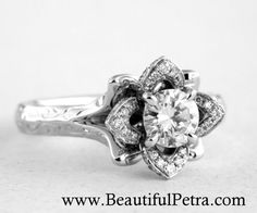 Wedding Set - Engraved Flower Rose Diamond Engagement Ring and Wedding band set - white gold - leaves - flowers - Beautiful Petra - Lotus Engagement Ring, Unique Diamond Engagement Rings, Designer Engagement Rings, Diamond Rings, Gemstone Rings, Lotus Flower Ring, Flower Rings, Right Hand Rings, Unique Flowers