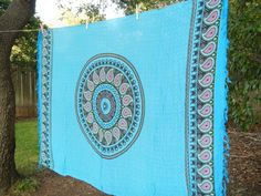 Bohemian Hippie Tapestry Fabric Colorful Paisley Pattern - Blue
