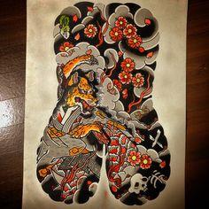 Tamamonomae Completion #japanesetattoo #tattooflash #art by horitsuki1023 http://instagram.com/p/w66gkSwado/