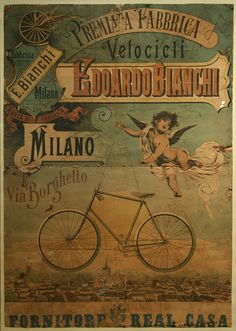 Vintage Italian Posters - Italy. Bianchi bike poster.
