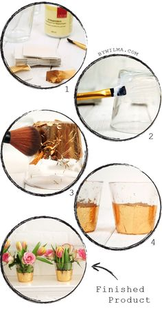Gold leaf glasses DIY project - By Wilma