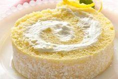 Lemon Cream Rolled Cake - Cake roll from a Cake Mix! Lemon Roll Cake Recipe, Lemon Cream Cake, Cake Roll Recipes, Dessert Recipes, Cream Pie, Ice Cream, Dessert Ideas, Make Ahead Desserts, Just Desserts