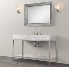 Hudson Metal Extra-Wide Single Washstand - for powder room. Needs more decorative mirror. Vintage.
