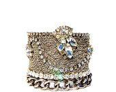 Wedding Jewelry, Bracelet, Vintage Bridal Rhinestone Cuff by dabchickvintagegems on Etsy