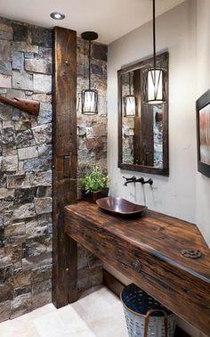 Rustic Bathroom Mirrors, Diy Bathroom, Rustic Bathroom Designs, Stone Bathroom, Rustic Bathrooms, Bathroom Styling, Bathroom Interior, Modern Bathroom, Bathroom Flooring