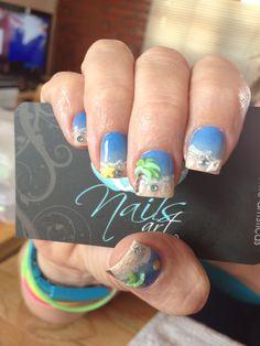 Nails art, acrylic nail, beach nails