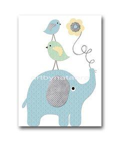 Elephant Wall Art Giraffe Wall Art Gray Blue by artbynataera