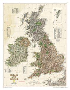 National Geographic - Britain and Ireland Executive Map Laminated Poster Laminerad poster