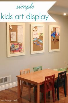 Fantastic way to have a rotating display of your child's artwork. Add their initial to the top corner. Of course my boys have the same initial so...
