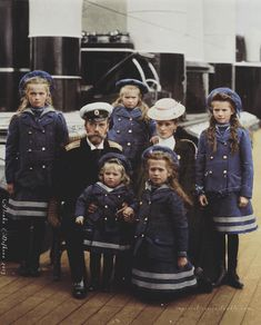 Nicholas II with his wife, Alexandra, and their children