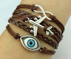 evil eyes bracelet airplane bracelet infinity karma by handworld, $6.29