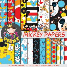 Digital Papers Mickey Mouse-Free PNG Clip Art, Mickey-Blue-Red-Yellow-Scrapbook supplies-Birthday Party-Personal and small Commercial use.         May 22, 2015 at 07:15AM