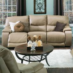 Palliser Furniture Norwood Reclining Sofa Upholstery: All Leather Protected - Tulsa II Dark Brown, Leather Type: Leather PVC/Match, Type: Power
