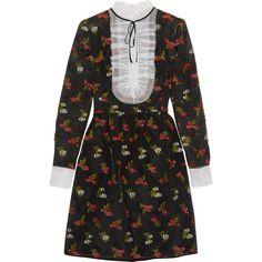 Erdem Katy fil coupé silk-organza mini dress (17.718.380 IDR) ❤ liked on Polyvore featuring dresses, erdem, black, flutter-sleeve dress, flounce dress, short dresses, zipper dress and frilly dresses