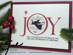 Joyful Nativity, Music Notes Wheel - Amy's Inkin' Krew Featured Stampers (Sue Prather) Religious Christmas Cards, Simple Christmas Cards, Stampin Up Christmas, Christmas Decorations To Make, Xmas Cards, Diy Cards, Handmade Christmas, Holiday Cards, Christmas Holidays