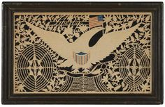 """American Eagle, Shield and Flag, """"Liberty"""" , Isaac Stiehly cut paper Scherenschnitte, Mahantongo Valley, Pennsylvania, ca. 1835"""