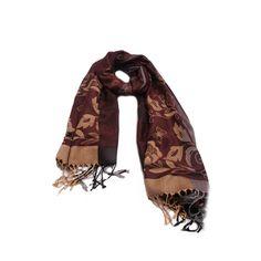 PASHIMINA FLORIDA MARROM em tecido de lã florida nas cores marrom e bege. #pashimina #modafeminina #fashion #scarf #scarfs