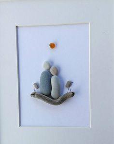 Pebble art couple Couple gift Image couple birds Home