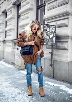 Bomber jacket casual outfit with hiking boots.  bmodish