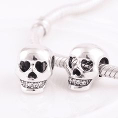 Silver charms Smart and stylish Stunning Sterling Silver Skull with teeth Charm perfect for bracelets for women add an extra element of style to any Brace #pandora #skull #jewelry