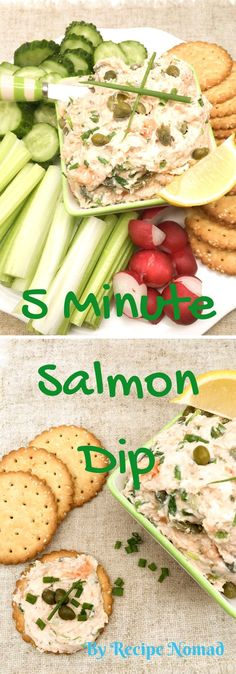 Salmon, cream cheese and capers make the best Salmon Dip ever!! Mmm!!!  5 Minute Salmon Dip | Recipe Nomad  http://www.recipenomad.com/5-minute-salmon-dip/