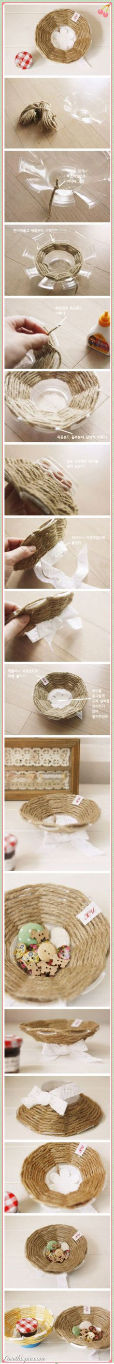 Weaving on a plastic cup add long twine to hang by and bird food Diy And Crafts, Crafts For Kids, Arts And Crafts, Diy Projects To Try, Craft Projects, Diy Love, Plastic Bottle Crafts, Plastic Bottles, Plastic Cups