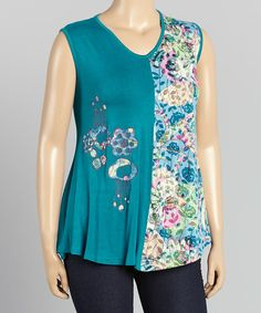 Look at this Rising International Blue Half-Floral Tank - Plus on #zulily today!