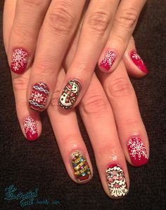 theillustratednail:  SANTA & SNOWFLAKES…