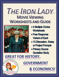 The Iron Lady Movie Worksheets includes more than 80 multiple-choice questions in movie order split into 4 worksheets, a free-response version of the worksheets for differentiation, and 13 critical-thinking topics to use for discussions, projects, and essays -- plenty for every teacher to choose from! Hold students accountable as they learn about a key women in modern British history! #thatcher #margaretthatcher #britishhistory #ironlady #economics #conservatism #falklandswar #primeminister