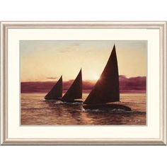 Global Gallery 'Coastal Evening Sail' by Diane Romanello Framed Painting Print Size: 2