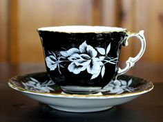 Aynsley Tea Cup and Saucer - Footed Black Rose Set - Quatre Foil English Teacup - Tea Cups J-250