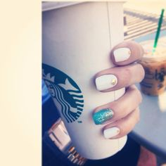 Gold and white sparkle nails. Spring 2014 nails