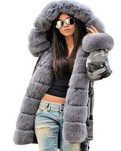 50335cf89b New Roiii Women Outdoor Jacket Army Military Faux Fur Long Hooded Parka  Trench Coats online