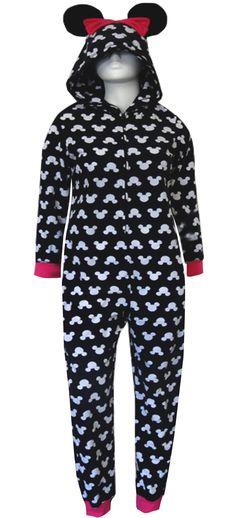 WebUndies.com Disney's Minnie Ears On Black Hooded Onesie Pajama